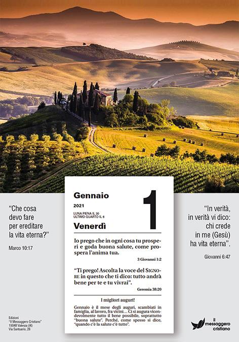 Calendario Cristiano Il Buon Seme 2021 placca 1A fronte